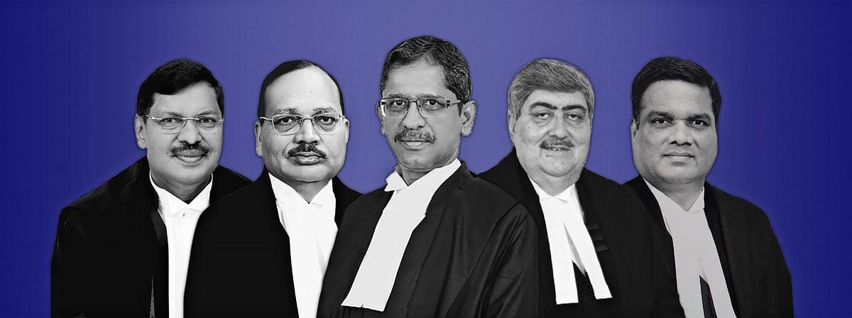 Justices NV Ramana, Sanjay Kishan Kaul, R Subhash Reddy, BR Gavai, and Surya Kant