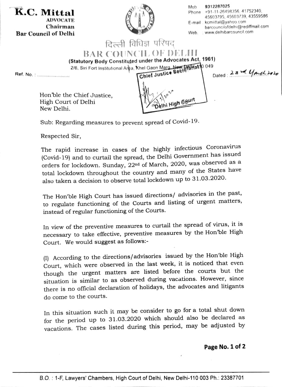 BCD letter to Delhi HC page 1