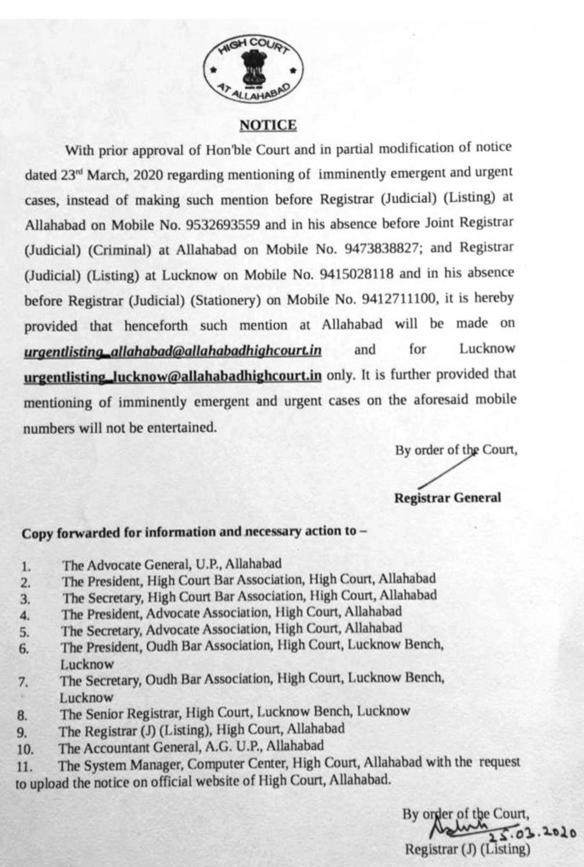 Notice regarding mentioning of cases during closure period