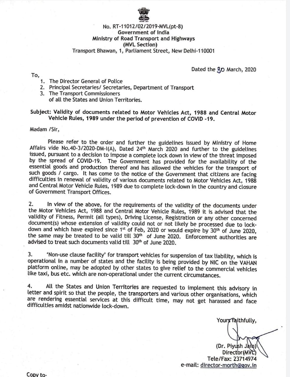 The advisory issued by the Union Transport Ministry