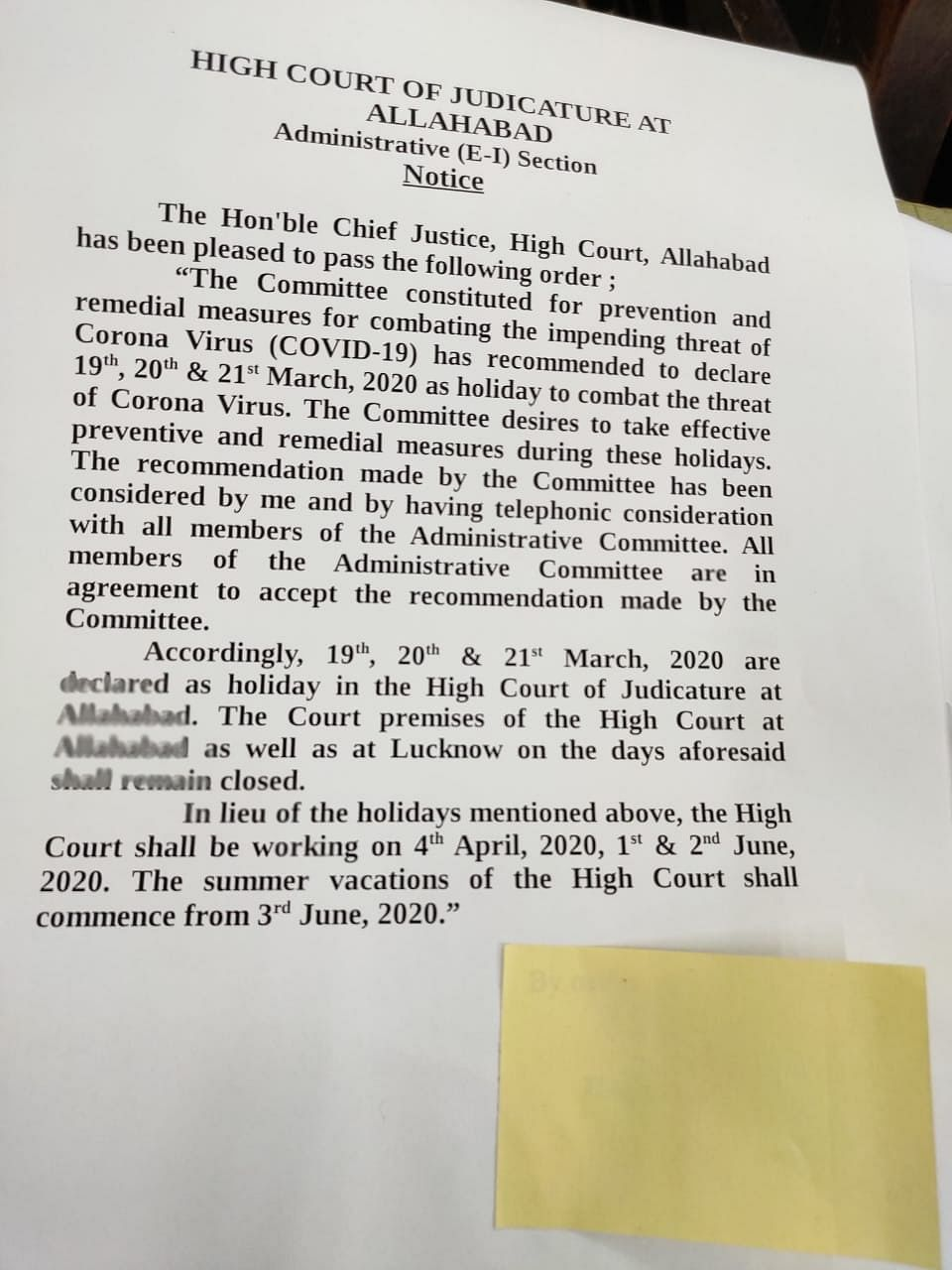 Notice issued by the Allahabad High Court