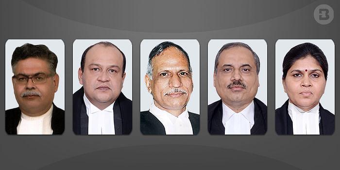 (L-R) Justice Rahul Chaturvedi, Justice Yashwant Varma, Chief Justice Govind Mathur, Justice Ramesh Sinha and Justice Sunita Agarwal