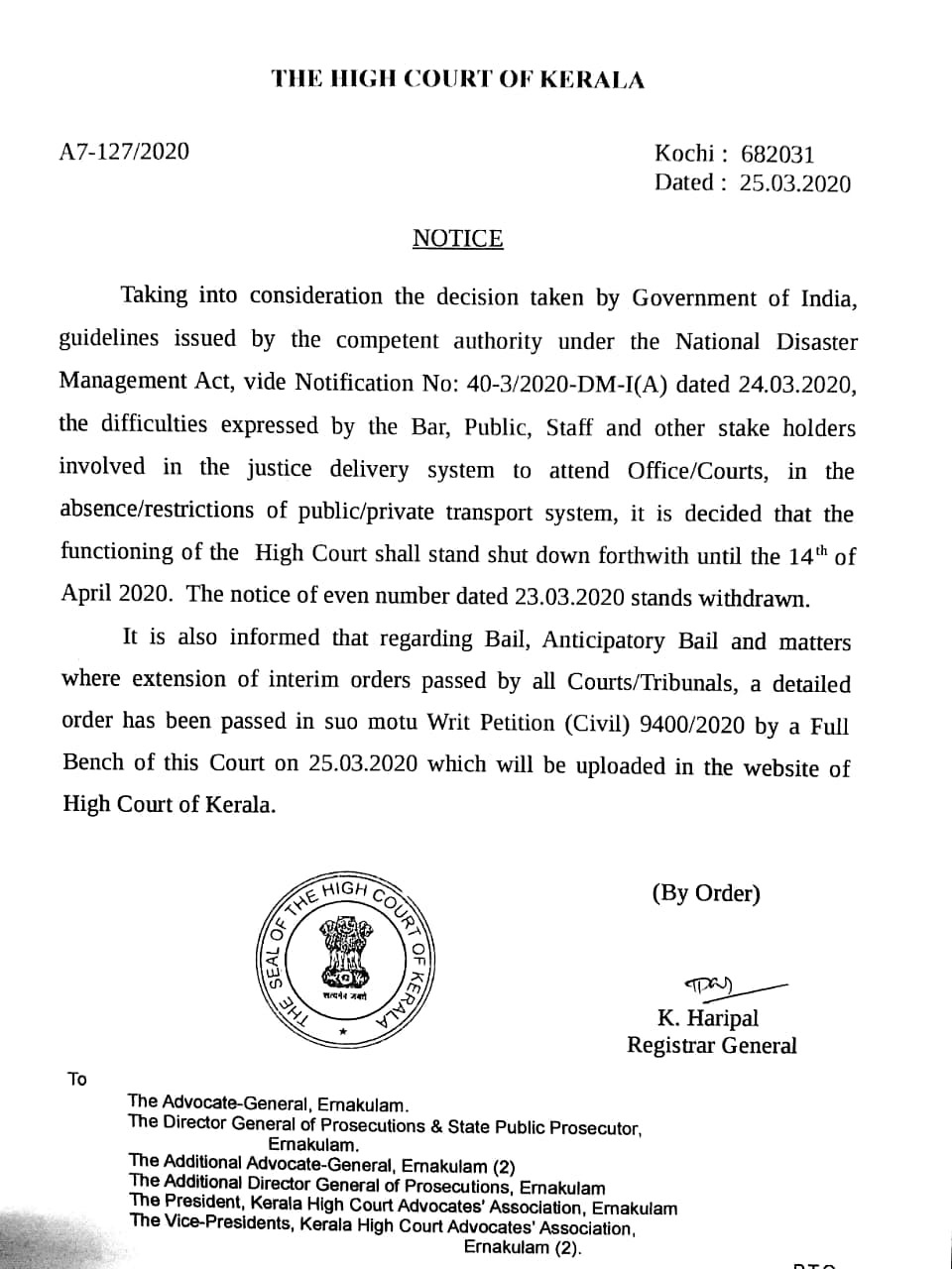 Notice issued today by the Kerala High Court