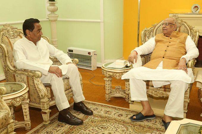 Madhya Pradesh Chief Minister, Kamal Nath (L) with Governor of Madhya Pradesh, Lalji Tandon (R)