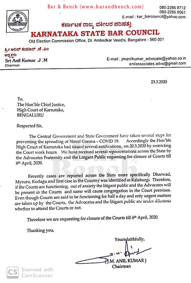 Coronavirus: Karnataka State Bar Council requests Chief Justice Abhay Oka to close Courts till April 4