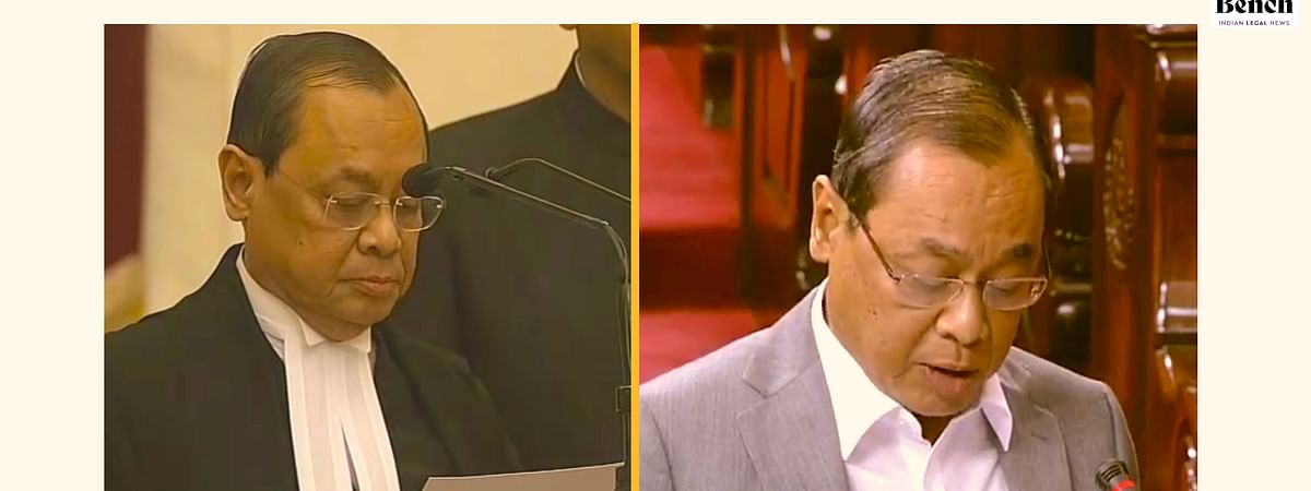 Justice Gogoi taking oath as CJI (Left) and Mr. Gogoi taking oath as a RS MP