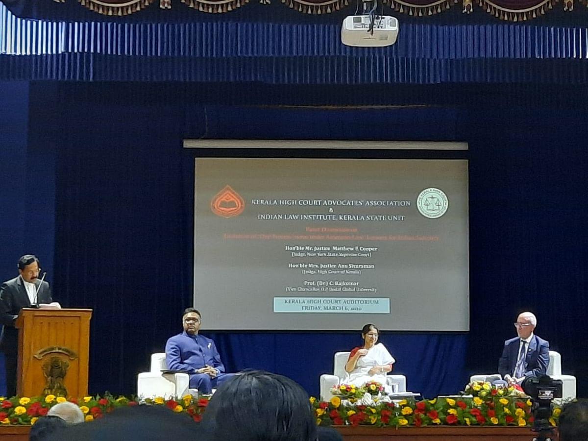 (L-R) Lakshmi Narayan R (KHCAA), Prof C Rajkumar, Justice Anu Sivaraman and Justice Mathew F Cooper