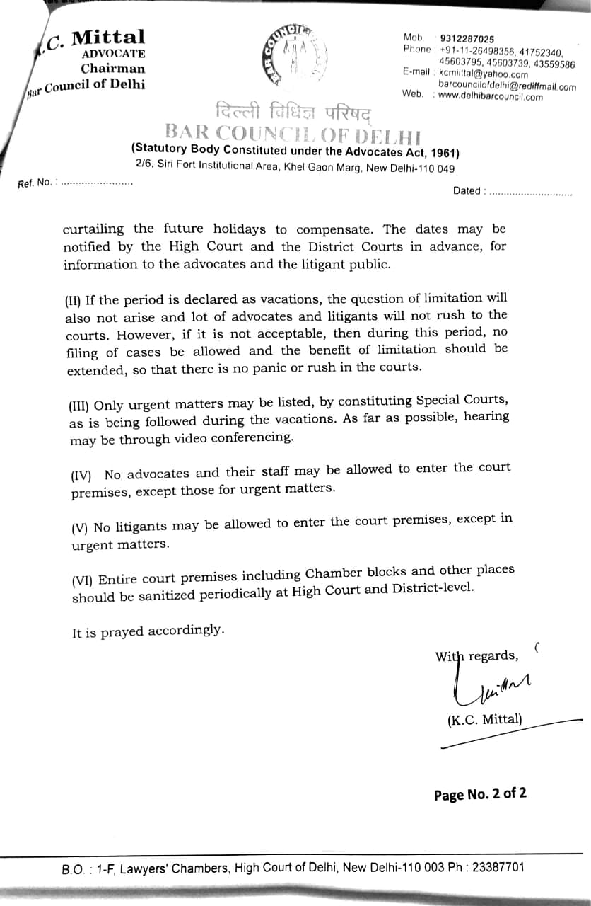 BCD letter to Delhi HC page 2