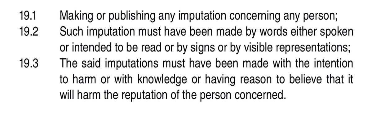 The three ingredients for defamation, as noted by the court.