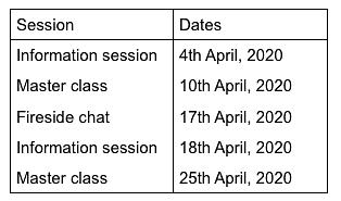 April 2020, Session Schedule