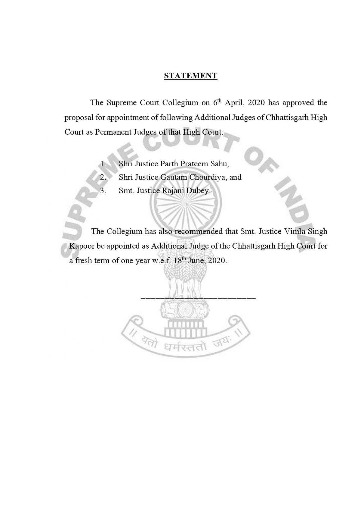 The Collegium Statement dated April 6