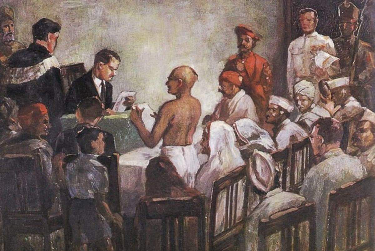 The historical trial of Mahatma Gandhi and Shankarlal Ghelabhai Banker, Editors, Young India, on charges under Section 124 A of the Indian Penal Code before Mr. C. N. Broomfield, I. C. S., District and Sessions Judge, Ahmedabad.