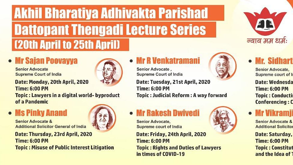 Akhil Bhartiya Adhivakta Parishad to commence the Dattopant Thengadi Lecture Series from today; live streaming on all social media platforms