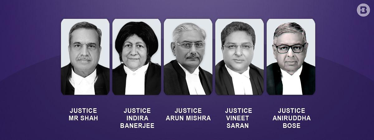 Justices Arun Mishra, Indira Banerjee, Vineet Saran, MR Shah and Krishna Murari of the Supreme Court