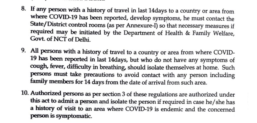 Relevant Excerpt of March 12 Travel Advisory