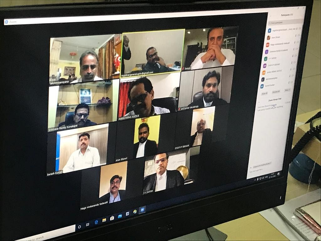 A screen grab of a Zoom Meeting conducted for an urgent hearing before the Andhra Pradesh High Court