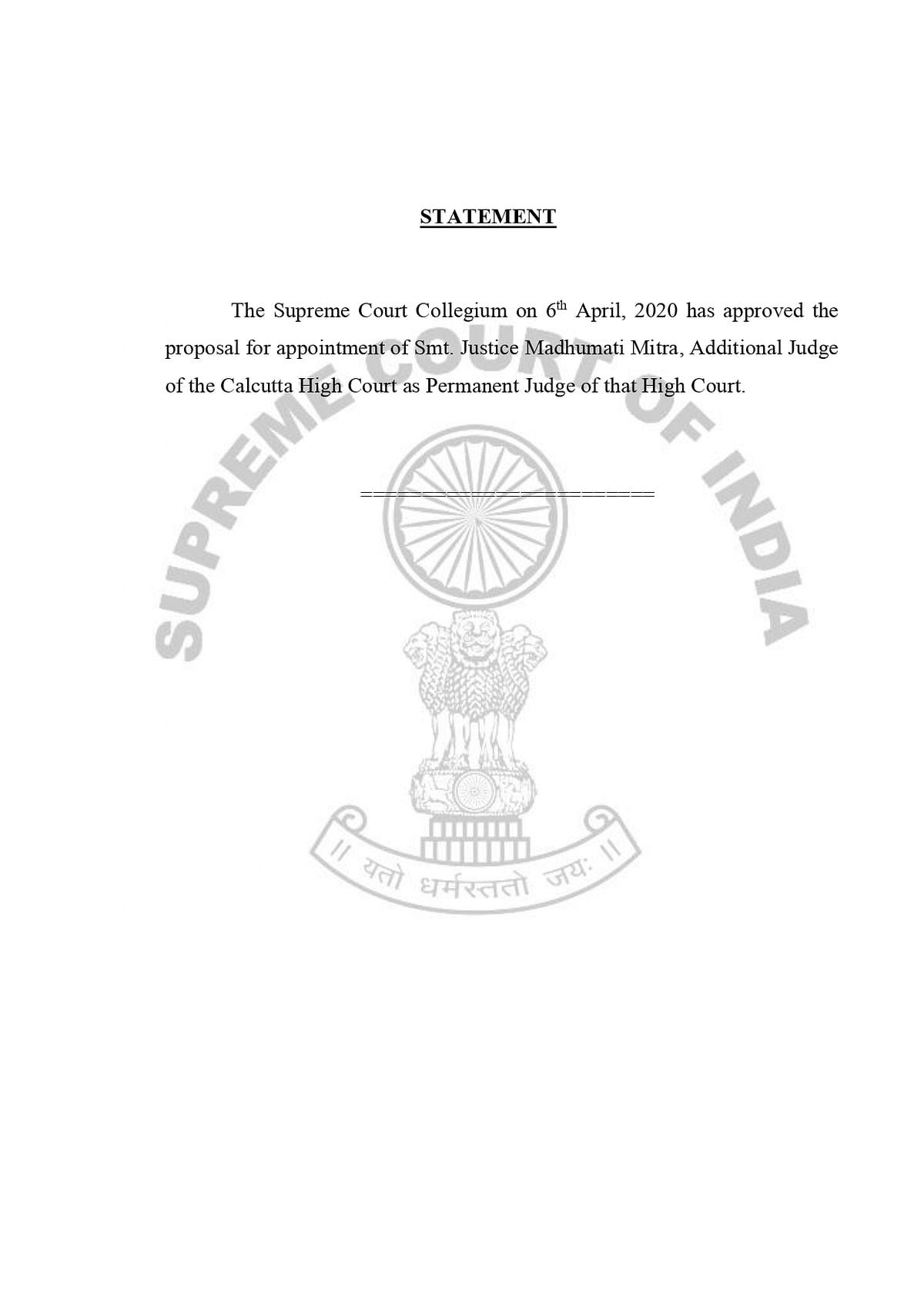 Collegium Statement recommending Justice Madhumati Mitra as a permanent High Court judge