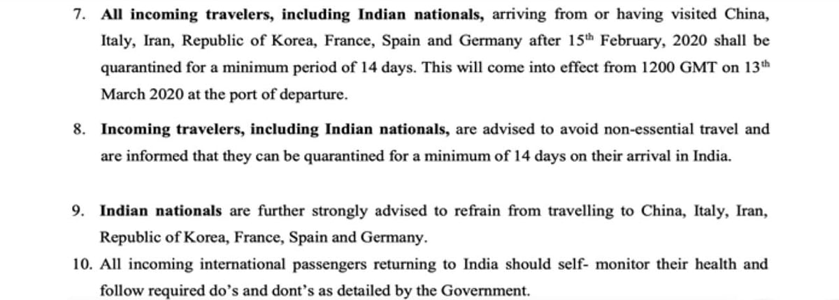 Relevant Excerpt of March 11 Travel Advisory