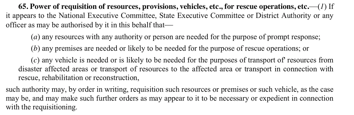 Section 65(1) of the Disaster Management Act