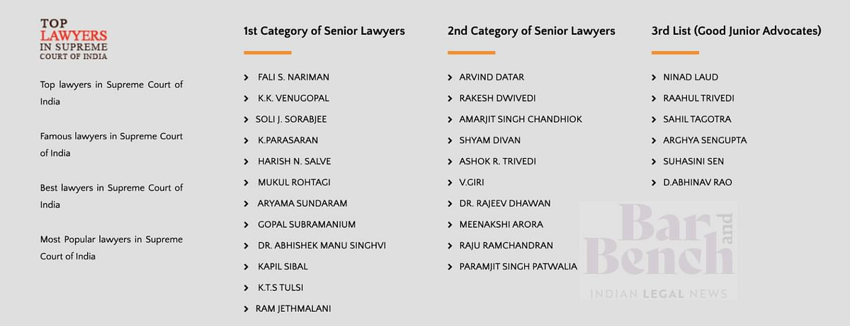 Screenshot from Top Lawyers in Supreme Court of India