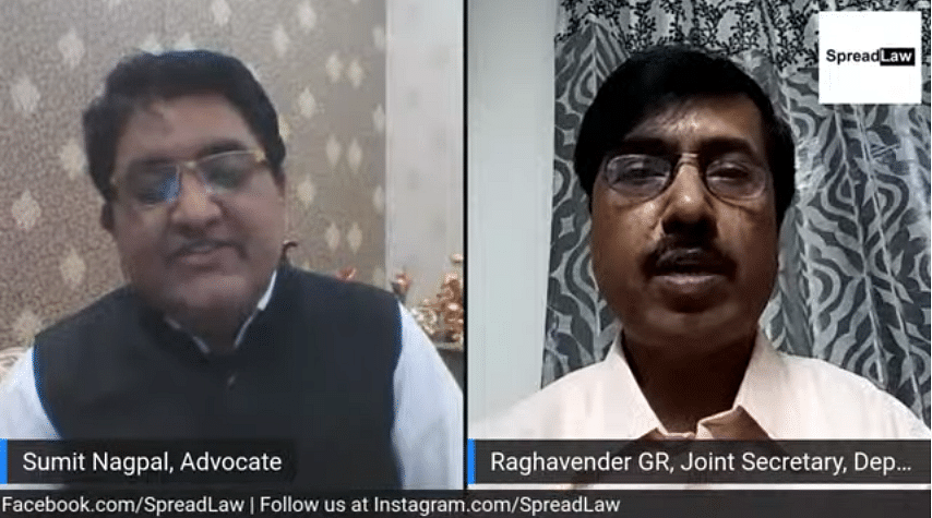 Advocate Sumit Nagpal (L) and GR Raghavender (R) during the Webinar