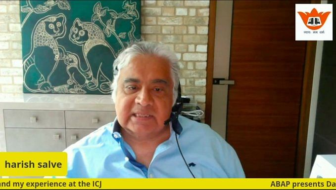 Senior Advocate Harish Salve rendrered his addres via video confrence from London