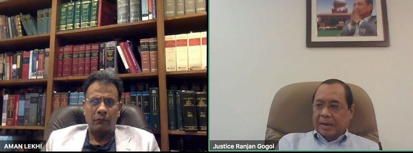 Aman Lekhi (L) and former CJI Ranjan Gogoi (R)