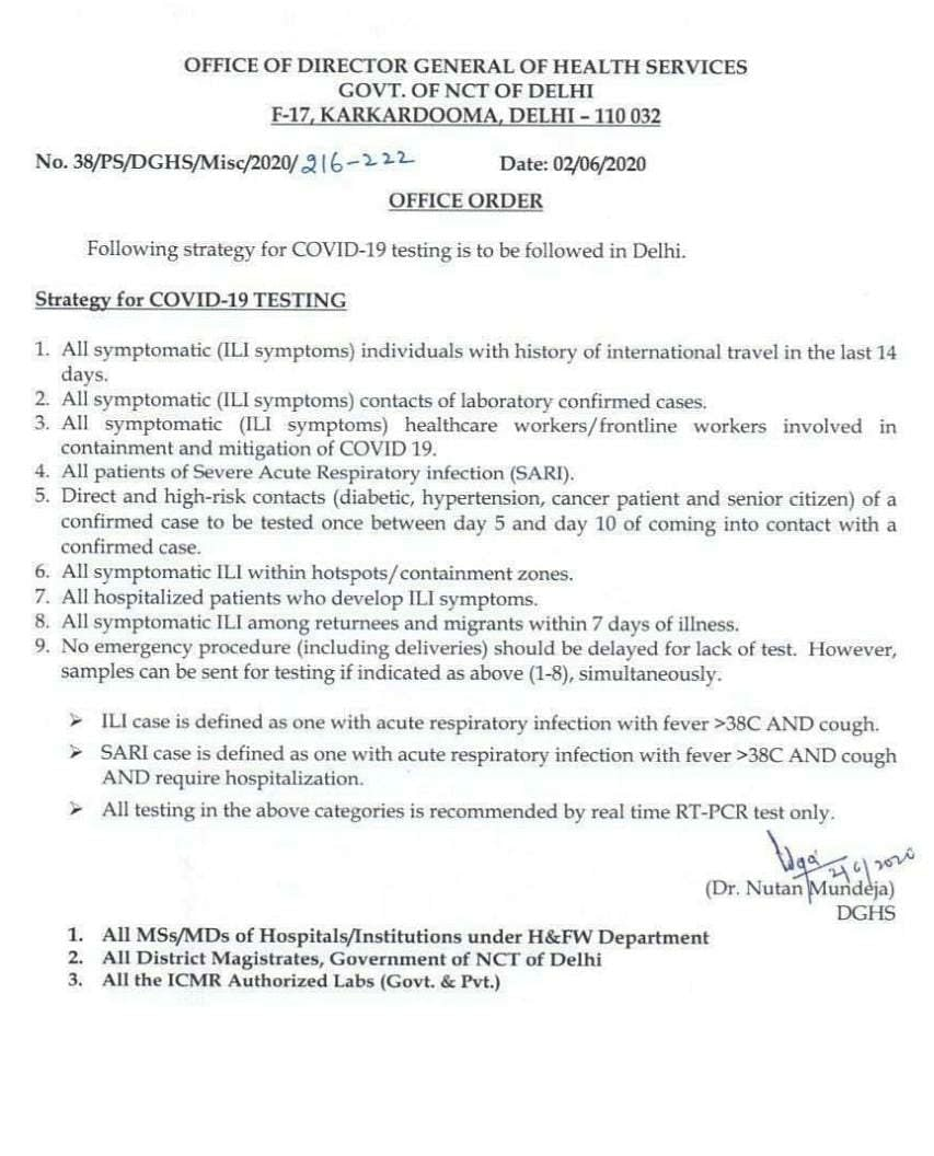 Delhi Govt order on 'Strategy for COVID-19 testing""