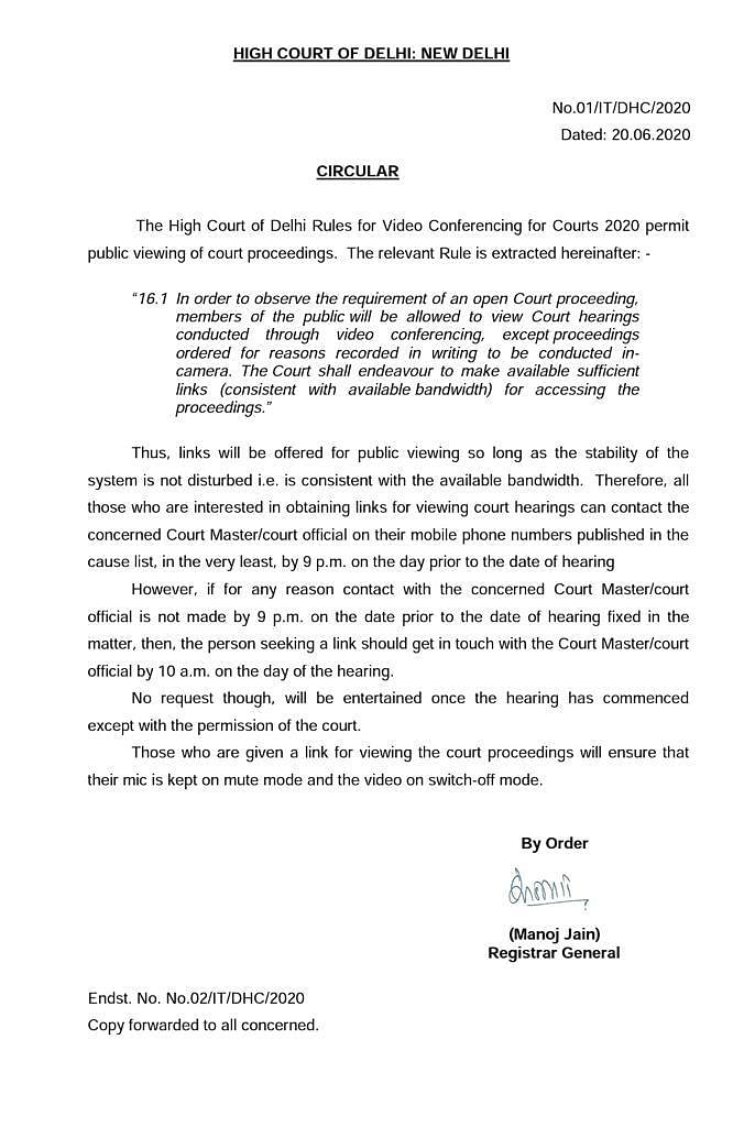 The Delhi High Court's June 20 notification