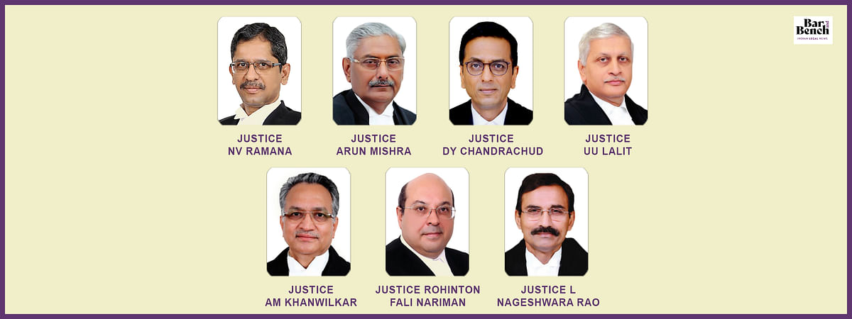 Arun Mishra, RF Nariman, UU Lalit, AM Khanwilkar, DY Chandrachud and L Nageswara Rao