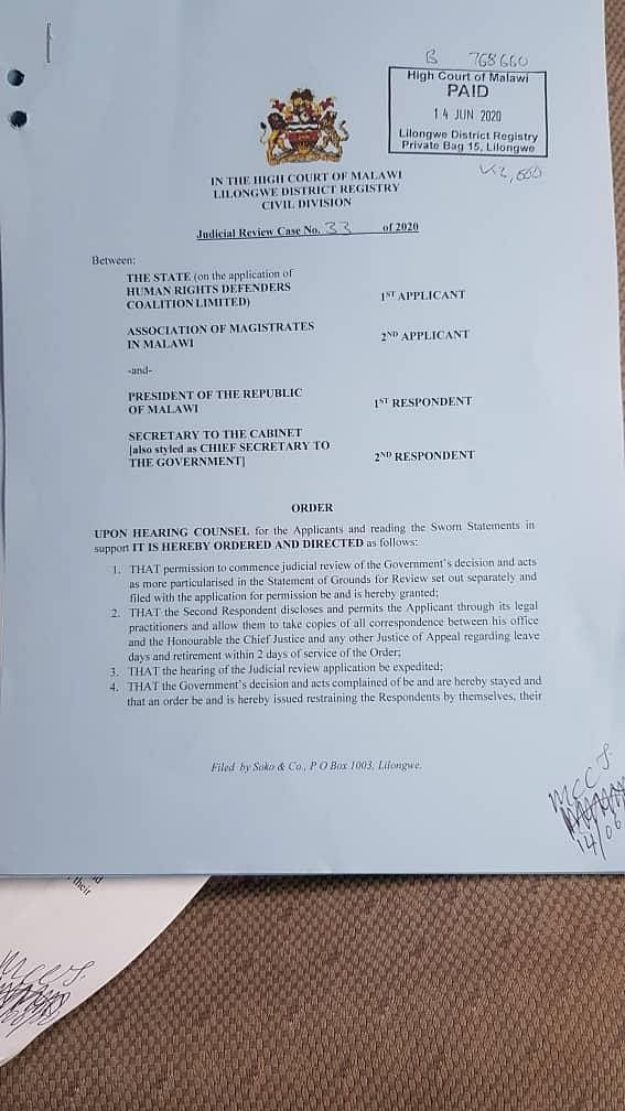 Order passed by Malawi High Court dated June 14