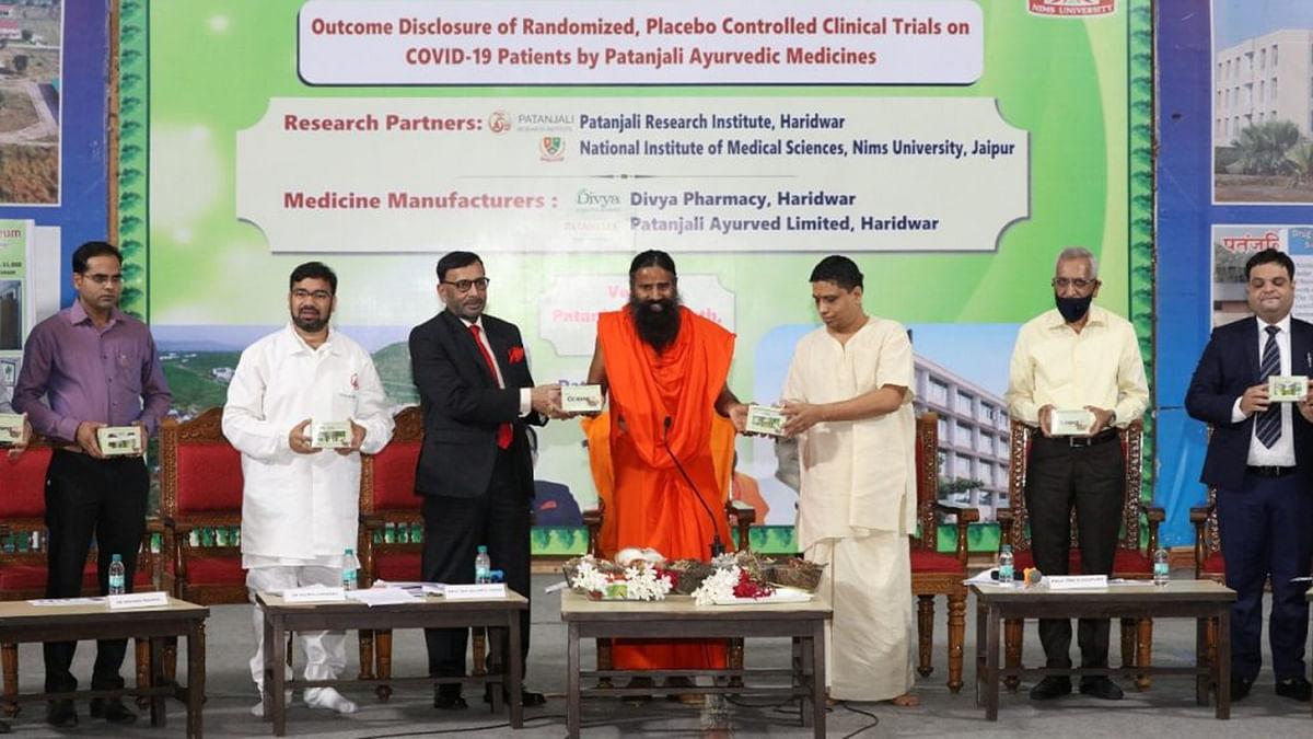 Baba Ramdev launching Coronil