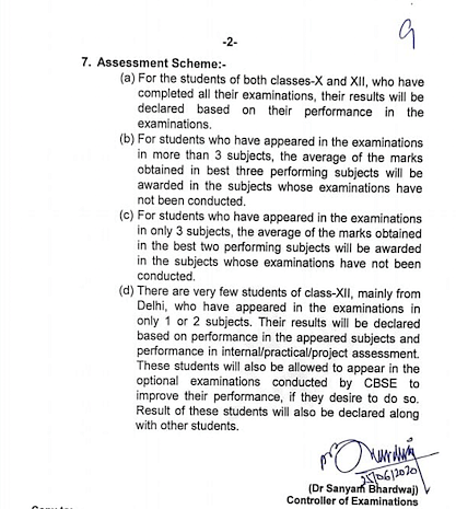 The Assessment Scheme as outlined in the CBSE's notification