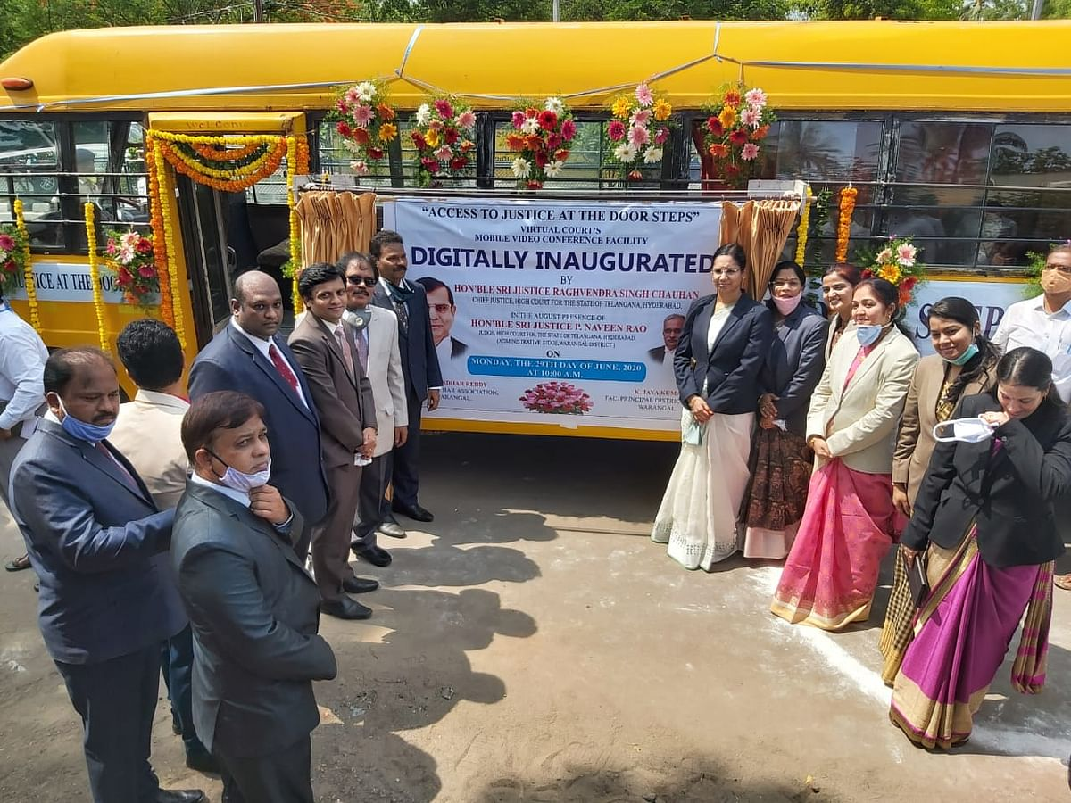Telangana High Court inaugurates Mobile Video Conference Facility to aid lawyers from remote areas address the virtual court