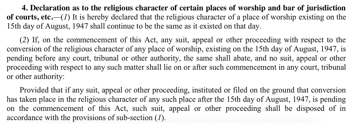 Section 4 of the Places of Worship Act, 1991