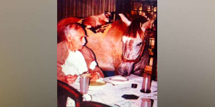 Justice Vivian Bose with a horse at his dining table.