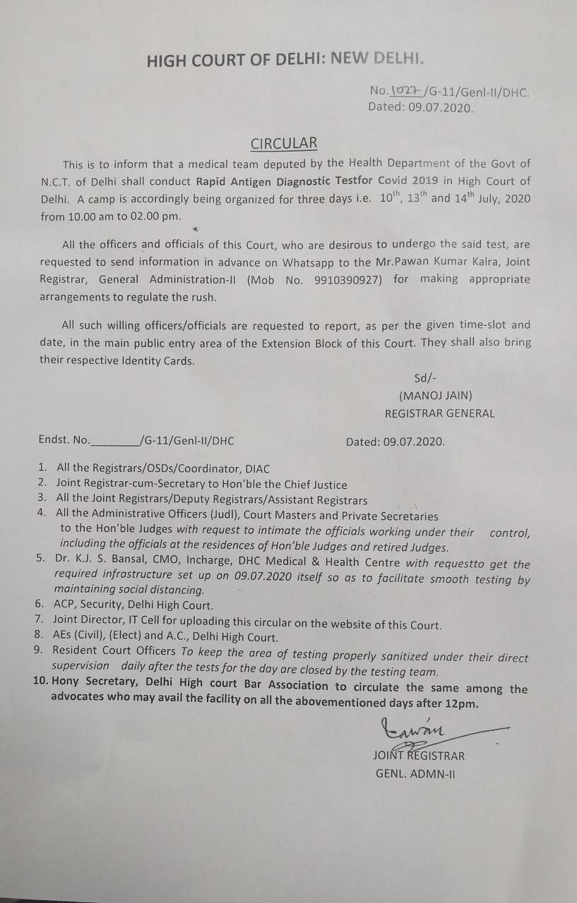 The Circular issued by the Delhi High Court today