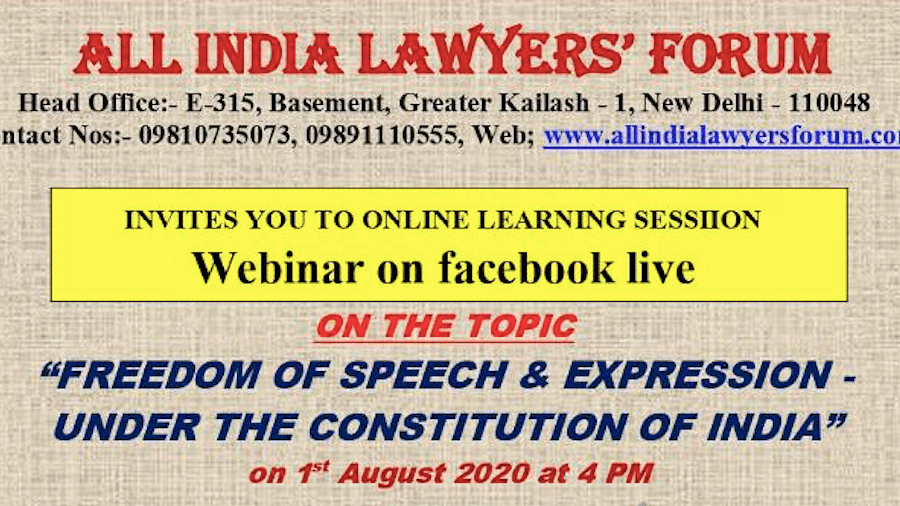 "Webinar Alert: Justice Indira Banerjee to speak on ""Right to Speech and Expression under the Constitution of India"" tomorrow"