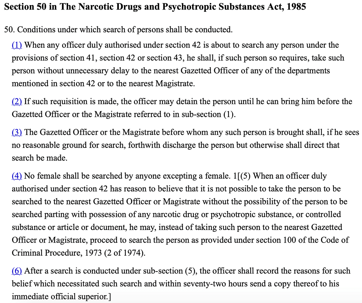 Section 50 of the NDPS Act