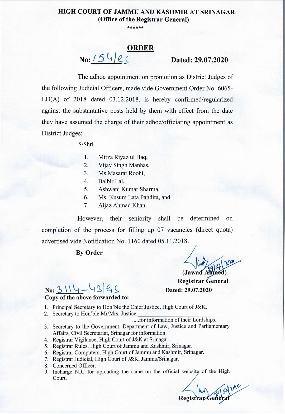 The order issued by the J&K High Court
