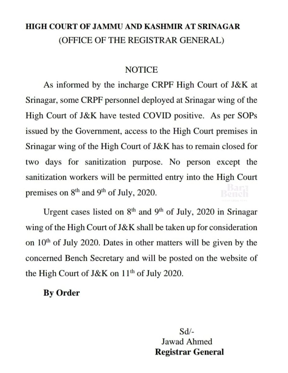 The notification issued by the High Court Registrar General