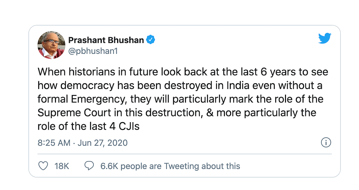 Prashant Bhushan Tweet of June 27,2020
