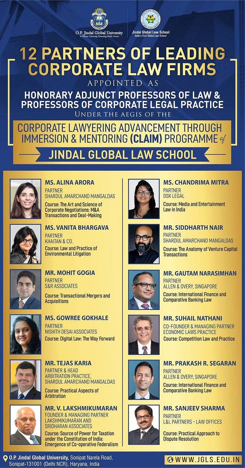 The Corporate Law Firm Partners appointed as Hon Adjunct Professors