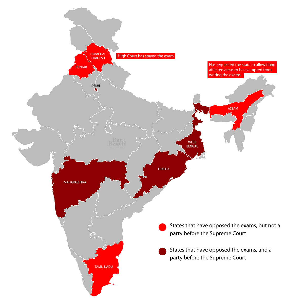 States before the Supreme Court and States that have opposed the Exam