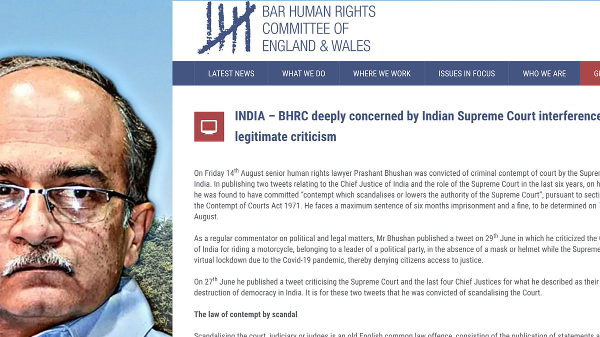 BHRC from UK raises concern over Supreme Court's judgment on Prashant Bhushan, says lawyers entitled to voice legitimate criticism