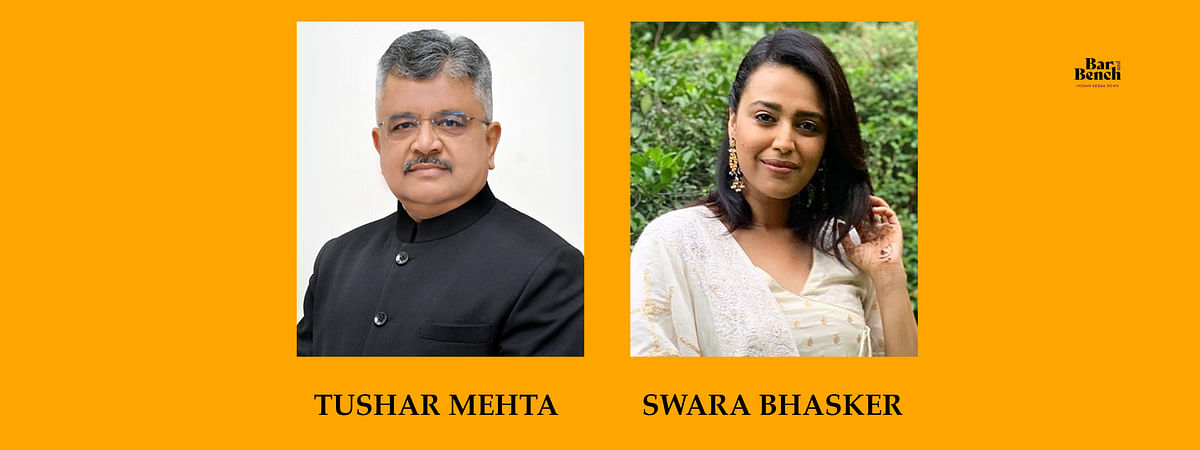 After AG, Solicitor General Tushar Mehta denies consent for initiating contempt proceedings against actor Swara Bhasker