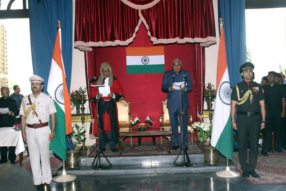 Jagdeep Dhankhar being sworn in by Chief Justice of the Calcutta High Court