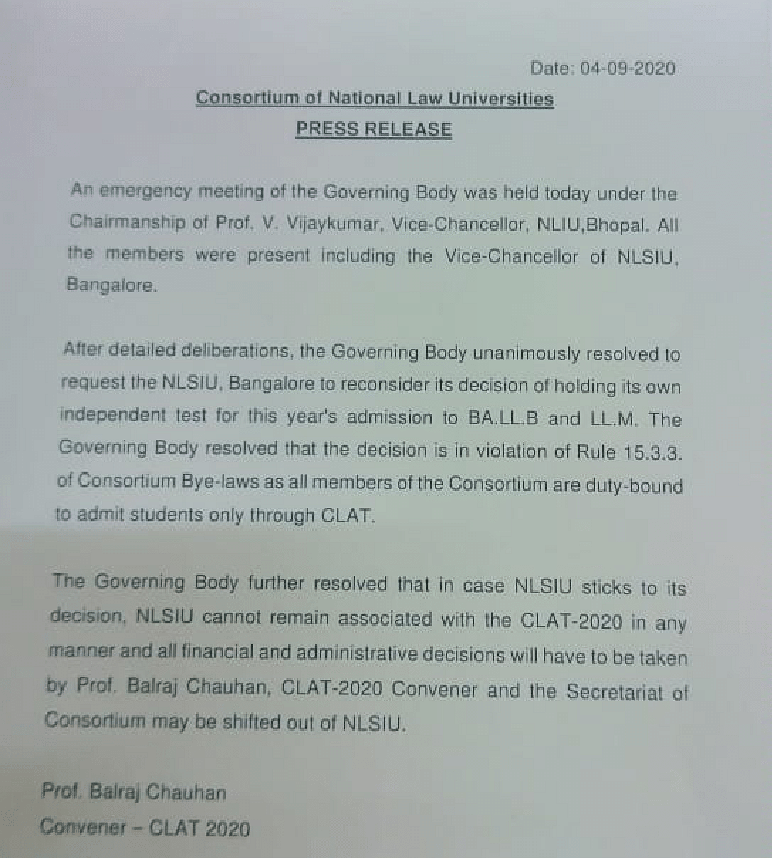 Press release by NLU Consortium