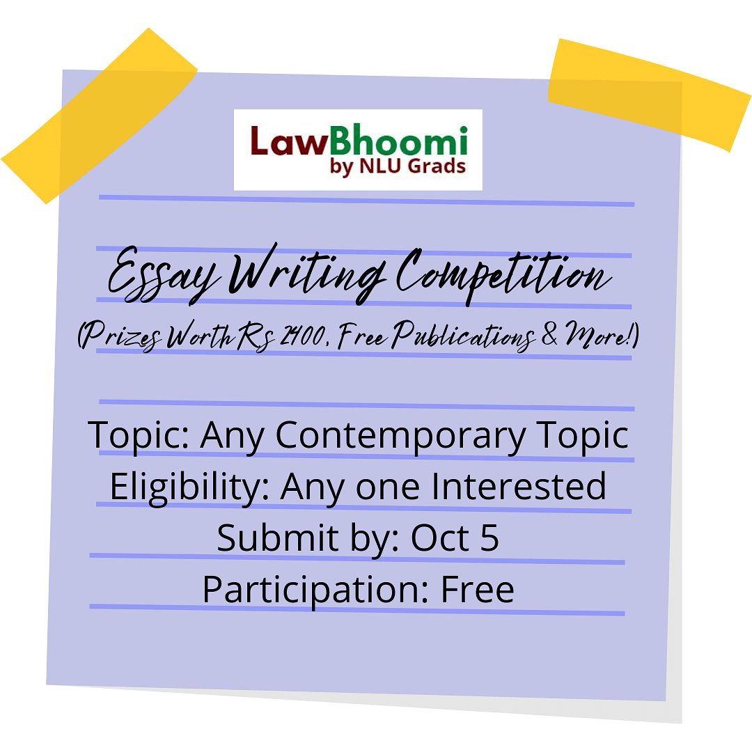 LawBhoomi to hold Essay Writing Competition (Submit by 5 Oct)