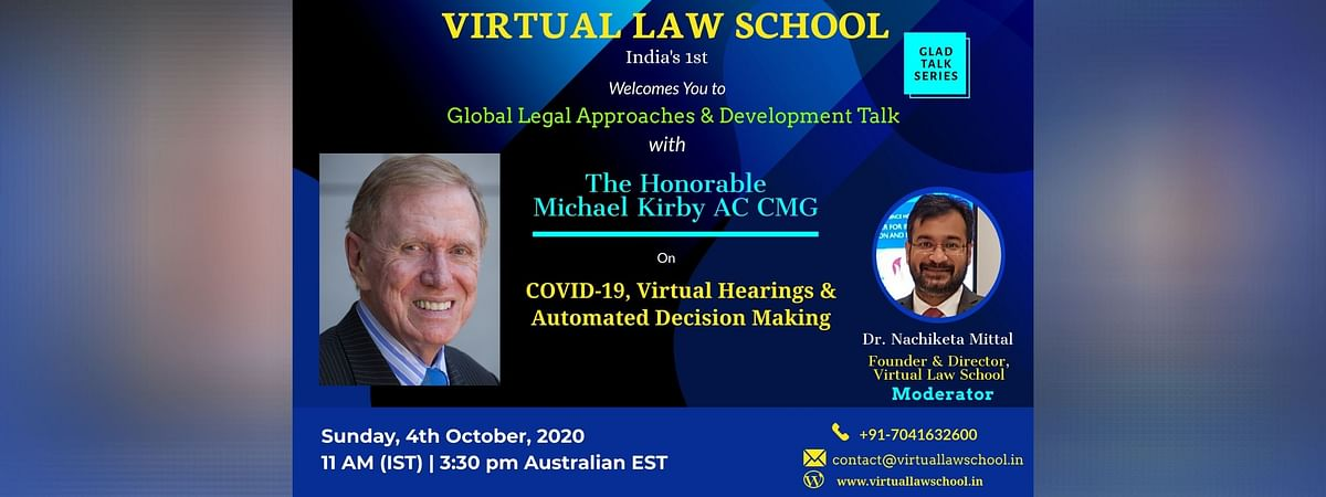 "Virtual Law School to host talk on ""COVID-19, Virtual Hearing and Automated Decision Making"" (Oct 4)"